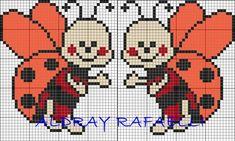 Two ladybugs Sweet snowflakes 123 Cross Stitch, Cross Stitch For Kids, Simple Cross Stitch, Cross Stitch Charts, Cross Stitch Designs, Cross Stitch Patterns, Easy Cross, Cross Stitching, Cross Stitch Embroidery