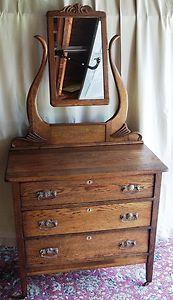Antique Oak 3 Flush Drawer Dresser Tilt Lyre Harp Style Mirror Rustic