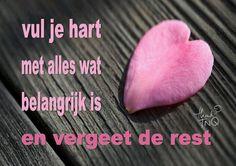 'Vul je hart met alles wat belangrijk is en vergeet de rest.'