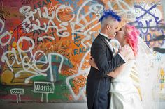 Darcy & Charles' stripey vegan fancypunk wedding via @Offbeat Bride with awesome blue and pink hair