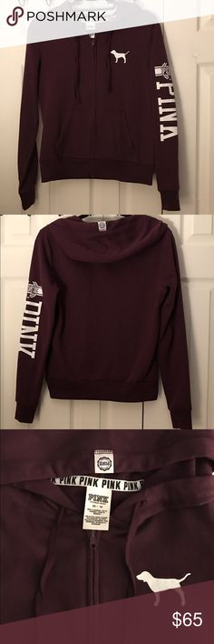 """EUC Victoria'sSecret Pink Hoodie Size-S EUC Victoria'sSecret Pink hoodie in the sold out & HTF Color- maroon or Black orchid , Size- Small, with the iconic dog on the left chest wall & """"PINK """" Pink with the cute double leaf  branches , all in white , the hoodie has been well taken care of with rest of my Victoria's Secret Pink & VS things , already have the same hoodie in this color in my size, so this one has to go, from smoke free home.looks practically new tags removed for sale . PINK…"""