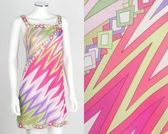 VTG 60s 70s EMILIO PUCCI FORMFIT ROGERS GREEN PINK SLEEVELESS SLIP MINI DRESS S #EmilioPucci