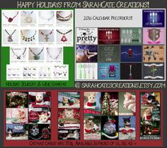Everything You need for the holidays: party jewelry, wine glass charms, christmas cards- even calendars for 2016! All at sarahcatescreations.etsy.com