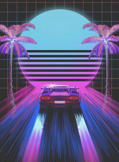 vaporwave car Classic car, retro, art W - vaporwave Trippy Wallpaper, View Wallpaper, Neon Wallpaper, Iphone Wallpaper, Sports Car Wallpaper, Wallpaper Wallpapers, Neon Car, 80s Neon, Vaporwave Wallpaper
