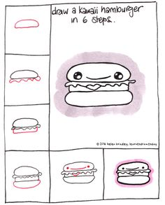 Learn to draw a kawaii hamburger in a few simple steps