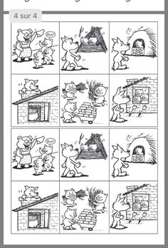 The Three Little Pigs Sequencing activity - cut and paste Sequencing Pictures, Story Sequencing, Teaching Spanish, Teaching English, Preschool Worksheets, Preschool Activities, Fairy Tale Activities, English Activities, Picture Story