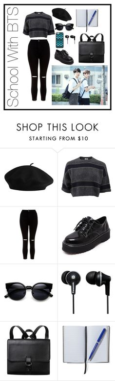 """""""School With BTS"""" by parkjiminie ❤ liked on Polyvore featuring Brunello Cucinelli, New Look, WithChic, Panasonic, Monki, Smythson, school, kpop, bts and bangtan"""