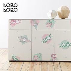Vinilo autoadhesivo para la decoración de muebles. Diseño de estilo infantil con duendes mágicos. #lokolokodecora