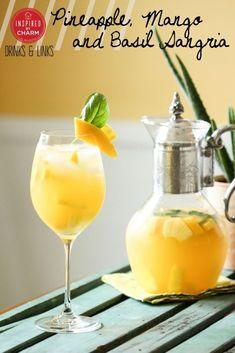 Pineapple, Mango and Basil Sangria #pineapple #mango #basil #summer #sangria #cocktail #recipe Party Drinks, Fun Drinks, Alcoholic Drinks, Cold Drinks, Sangria Recipes, Cocktail Recipes, Sangria Cocktail, Mango Sangria, White Sangria