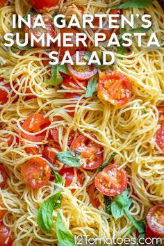 Fresh, simple flavor and SO easy to make. Easy Dinner Recipes, Delicious Recipes, New Recipes, Whole Food Recipes, Favorite Recipes, 12 Tomatoes Recipes, Slow Cooker Recipes, Cooking Recipes, Summer Pasta Salad