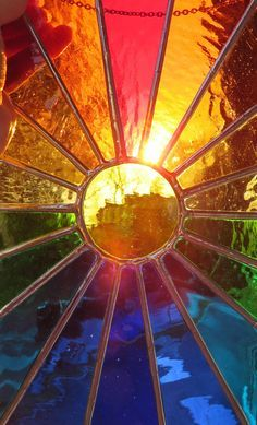 Sunburst Stunning Bright Stained Glass by pewtermoonsilver on Etsy