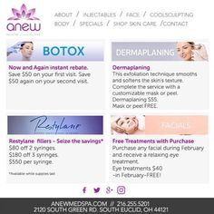 February Anew specials are out and our phones have been ringing. Call us today for a free consultation and to grab these specials while they last. Get Anew You today! #ANEWmedspa #anewyou #anewyou2017 #ANEW #anewbeginning #anewbeachwood #botox #fillers #juvederm #restylane #silkpeel #dermalinfusion #skincare #medspa #hairremoval #underarmsweating #coolsculpting #fatreduction #bodycontouring #freezethefat #freezefat http://ift.tt/2kT34xv