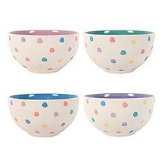Breakfast Bowls Pastel Polka Splodge Bowls Set Of 4