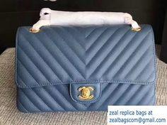 Chanel Caviar Leather Chevron Classic Flap Medium Bag A01112 Navy Blue/Gold 2017