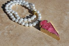 Druzy Necklace Classic up wear Hand-tied Pearl by InaraJewels