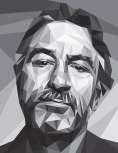 Robert De Niro cover illustration by Filip Peraić. Low Poly, Portrait Illustration, Illustration Artists, Face Illustration, Line Art, Framed Art Prints, Fine Art Prints, Canvas Prints, Polygon Art