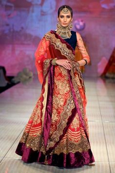 Purple and red - beautiful combination for a wedding lehenga #indian