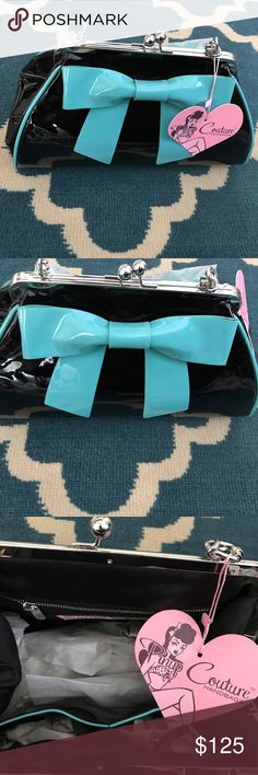 Pinup Couture - Black and Turquoise Bow Handbag Pinup Couture - Black and Turquoise Bow Handbag - Pinup Girl Clothing - BRAND NEW WITH TAGS - Tiffany Blue Bow - Patent look - Beautiful - Spacious and Roomy Purse - MAKE AN OFFER! ModCloth Bags