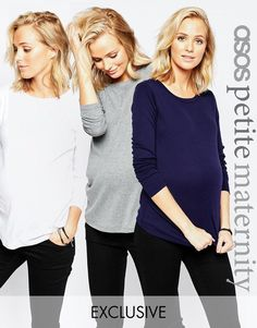 ASOS Maternity | ASOS Maternity PETITE Crew Neck Top With Long Sleeves 3 Pack SAVE 15% at ASOS