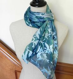 Hand dyed silk scarf Shades of blue green long by RosyDaysScarves