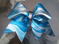 Tie Dye 3 royal blue and white/silver Cheer Bow by Bowtique24, $10.00