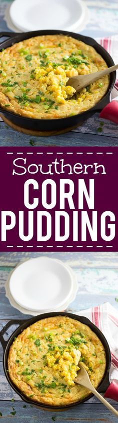 Oven Baked Southern Corn Pudding Recipe -Use this classic Southern Corn Pudding recipe to whip some delicious, cozy comfort food that's the perfect side dish with your favorite meat and potatoes. Also great for potlucks and holidays! This is such an easy and delicious corn side dish recipe! You can't go wrong with spoon bread.