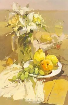 Here are popular Pins in art this wee. Painting Still Life, Still Life Art, Paintings I Love, Impressionist Paintings, Mellow Yellow, Gouache, Painting Inspiration, New Art, Painting & Drawing