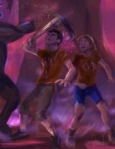 Percy and Annabeth fighting monsters in Tartarus