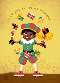 miriam-bos-copyright-illustration-postcard-sinterklaas-piet-jongleert.jpg (400×554)