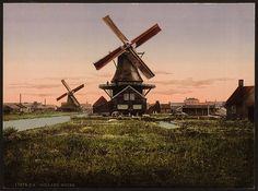 [Two windmills, Holland] (LOC) by The Library of Congress, via Flickr