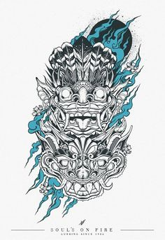 Bali rangda el mal y barong el bien Japon Illustration, Graphic Design Illustration, Street Art Graffiti, Art It, Tatuagem Trash Polka, Hannya Tattoo, Dibujos Tattoo, Dragons, Barong