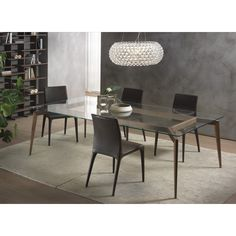 Dining table with ash structure, and tempered clear glass top. Buy Hope modern dining table by Pacini & Cappellini online on www.design now! Glass Dinning Table, Dinning Table Design, Wood Table Design, Modern Dining Table, Dining Chairs, Glass Tables, Dining Room, Table Frame, Clear Glass