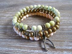 Make A Wish Bracelet Wishbone Bracelet Stackable by PoePoePurses #bracelet #jewelry