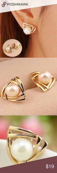 Charming White sapphire 18k gold filled Black Pearl eternity ladies earring