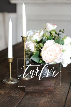 Acrylic Table Numbers | Calligraphy Style – By: Mulberry Market Designs  #acrylicsigns  #acrylictablenumbers  #weddingtablenumbers  #modernweddings Gold Wedding, Wedding Tips, Gold Calligraphy, Gold Table Numbers, Acrylic Table, Perfect Wedding, Ideas, Style, Design
