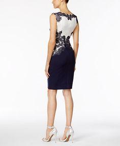 Tadashi Shoji Lace-Trim Scuba Dress   macys.com