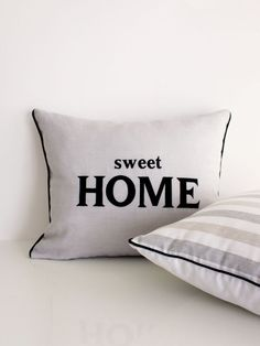 SWEET HOME embroidered pillow cover. Elegant light grey 100% linen embroidered pillow cover. This decorative pillow case will perfectly fit any