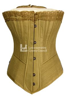 Woman's Pretty Housemaid corset made by the Symington company. A best seller of its time, made of twill lined with coutil.Features spoon busk, busk protector and cording across the hips. Deliberately targeted at young women in domestic service.