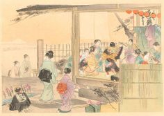 An Outdoor Performance, with a view of Mt. Fuji by Gekko from his 100 Views of Mt. Fuji series (ca 1900).