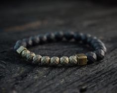 8mm Black onyx beaded gold Lion stretchy by GAALcollection