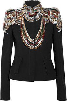 Alexander McQueen-Swarovski crystal-embellished twill jacket