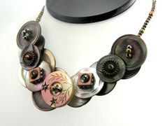 Vintage Button Necklace Brown Metallic by TrinketsNWhatnots, $55.00