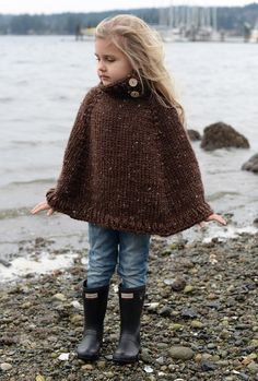 19 Super Ideas For Crochet Baby Poncho Pattern Velvet Acorn Crochet Baby Poncho, Knitted Poncho, Knit Crochet, Children's Poncho, Knitted Cape Pattern, Poncho Knitting Patterns, Girls Cape, Girls Poncho, Knitting For Kids