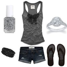 ✔ denim shorts, gray tank, brown leather flip flops or sandals ... and sparkles