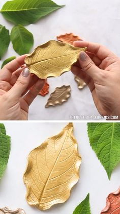 LEAF DISH - make your own dish or bowl from a leaf. Amazing fall craft. 🍃