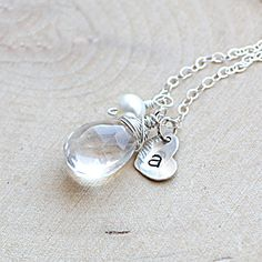 Bridesmaid Sterling Silver Initial Necklace