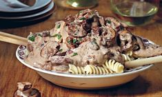 Tofu and mushroom stroganoff. Photograph: Vanessa Rees -> vegan seems to mean get out the cashews and grind 'em up. could use them unground here, but w/ long pasta.