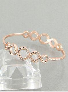 $15 Designer Inspired Rose Goldtone Bangle Bracelet with Rhinestone Circle Pattern. Hail Mary Gifts,http://www.amazon.com/dp/B00BXKZ5WY/ref=cm_sw_r_pi_dp_WQNPrb39537B4285