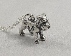 Schnauzer Necklace, Sterling Silver Miniature Schnauzer Charm on a Silver Cable Chain Dog Jewelry, Jewelry Crafts, Bridal Jewelry, Unique Jewelry, Platinum Jewelry, Diamond Jewelry, Silver Engagement Rings, Silver Rings, Silver Jewelry