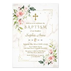 Luxury  Pink Flowers Gold Glitter Marble Baptism Invitation #watercolor #blush #floral #baptism #elegant #Invitation